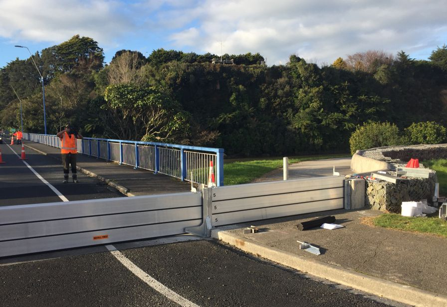 Waitara Town Bridge flood barrier